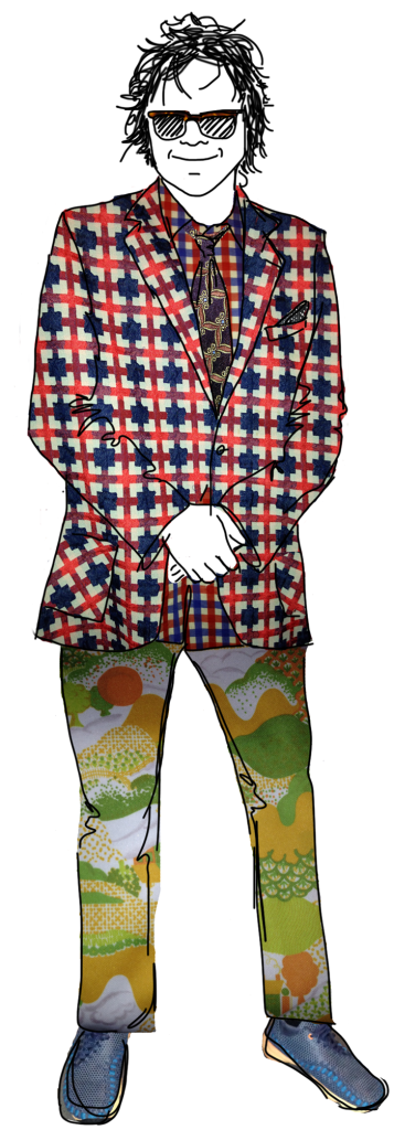drawing of Joe Edwards smiling in his eclectic printed fashion
